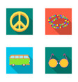a hippie sign beads a bus round glasseshippy vector image vector image