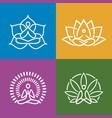 abstract yoga icons set vector image vector image