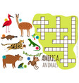 america animals set kids crossword vector image vector image