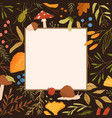 autumn frame flat border with vector image