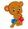 bear go to school with backpack vector image vector image