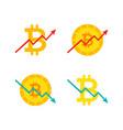 bitcoin up down graph vector image