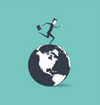 businessman running around the world vector image vector image