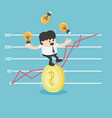 businessman trying to stand a dollar coin eps10 vector image vector image