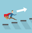businessman with red cape running on stairs vector image vector image