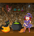 cartoon little witch holding a broomstick in the r vector image vector image