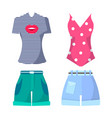 clothes set summer mode poster vector image vector image