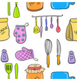 collection of kitchen set accessories doodles vector image