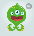 cute alien monster cartoon halloween vector image vector image