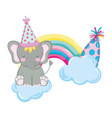 cute and little elephant with party hat and rrr vector image