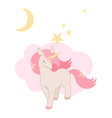 cute unicorn little pony with pink hair lovely vector image vector image