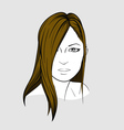 Face of woman with long straight hair vector image vector image