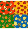 Fruits seamless patterns set vector image vector image