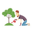 gardener working in garden cartoon icon landscape vector image