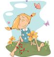 girl on field Cartoon vector image vector image
