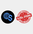 global business icon and distress global vector image vector image