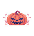 halloween carved pumpkin with scary face emotion vector image vector image