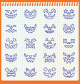 halloween pumpkin face line icon set pen effect vector image vector image