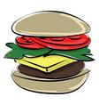 hamburger on white background vector image vector image