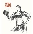 Hand drawn strong woman logo poster vector image