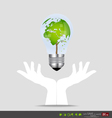 Hand holding an electric light bulb with tree vector image vector image