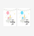 happy birthday cards set in blue and pink colors vector image