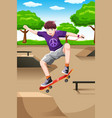 happy kid playing skateboard vector image