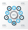 interface colorful icons set collection of vector image vector image
