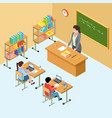 isometric classroom with teacher and kids high vector image vector image