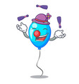 juggling blue balloon bunch design on cartoon vector image