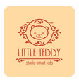 kids club logo with teddy bear cute kindergarten vector image vector image