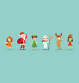 kids wearing christmas costumes vector image vector image