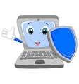 Laptop cartoon holding a shield vector image