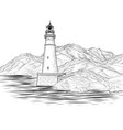 lighthouse seascape seaside view landscape sea vector image vector image