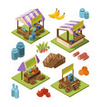 local farm isometric outdoor marketplaces with vector image vector image