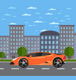 luxury sports car in urban landscape vector image vector image