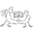 outlined loving birds vector image