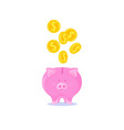 pink piggy bank with falling gold coins vector image