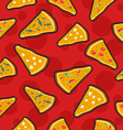 Pizza stitch patch icons seamless pattern vector image