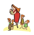 Primitive ancient mother and children vector image vector image