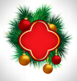 Red Frame on pine branches with Christmas balls vector image vector image