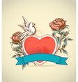 red heart roses and dove vector image