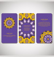 set of ornamental cards flyers with mandala vector image vector image