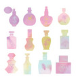 set with vintage cosmetic and perfume bottles vector image vector image