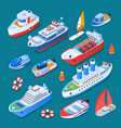 ships isometric icons vector image vector image