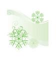 snowflakes abstract green backdrop vector image vector image
