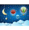 surreal cloudscape with hanging moon and balloons vector image vector image