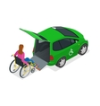 Taxi or car for woman on wheelchair Vehicle with vector image vector image