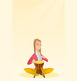 Woman playing the ethnic drum vector image