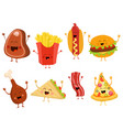 cute fast food characters set vector image